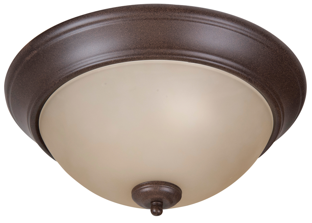 "Pro Builder 2 Light 13"" Flushmount in Aged Bronze Textured"